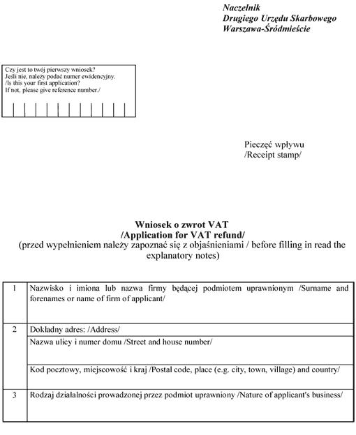 Wzór wniosku o zwrot podatku VAT